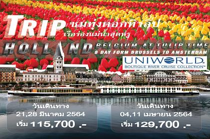 (Cruise Only) ประสบการณ์ใหม่ของการเที่ยวชมทิวลิปด้วยเรือล่องแม่น้ำแบบ Luxury   พร้อมบริการแบบ Exclusive